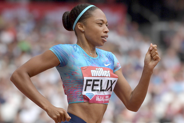 Allyson Felix on her way to winning the 400m at the IAAF Diamond League meeting in London (Kirby Lee)