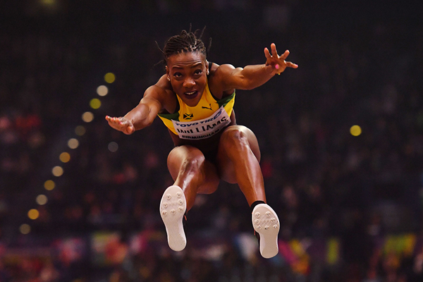 Kimberly Williams in the triple jump at the IAAF World Indoor Championships Birmingham 2018 (AFP / Getty Images)