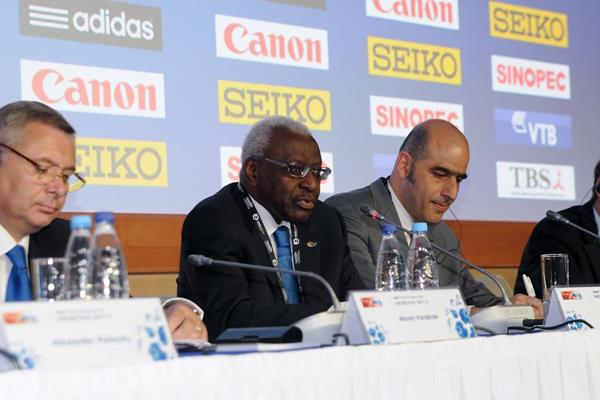 Lamine Diack talking at the IAAF press conference at SportAccord (Organisers)