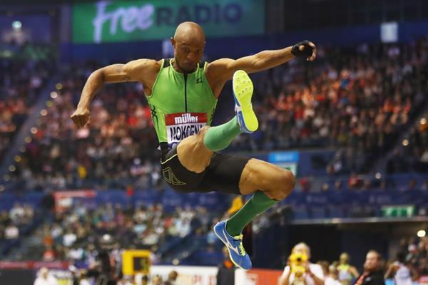 Godfrey Mokoena, the long jump winnerat the Muller Indoor Grand Prix in Birmingham (Getty Images)