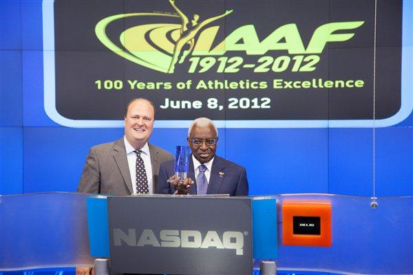 IAAF President Lamine Diack with NASDAQ Vice President David Wicks (NADAQ)