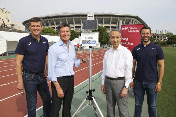 IAAF Health & Science Department Director Stéphane Bermon (l) and department manager Paolo Emilio Adami (r) with IAAF President Sebastian Coe and IAAF Council Member Hiroshi Yokokawa in Yokohama (Roger Sedres)