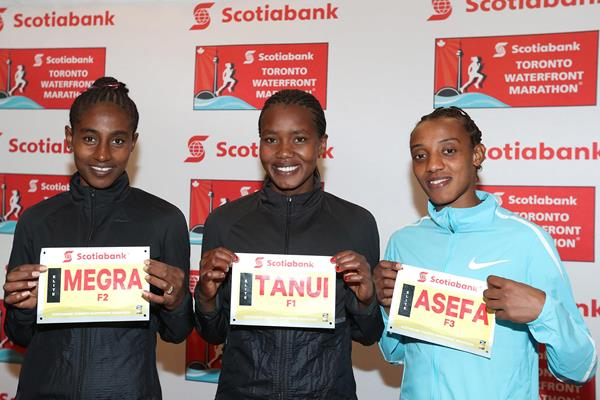 Marta Megra, Angela Tanui and Sutume Asefa in Toronto (Victah Sailer/organisers)