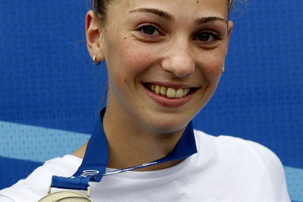 Marija Vukovic of Montenegro wins her country's first major athletics gold medal (Getty Images)