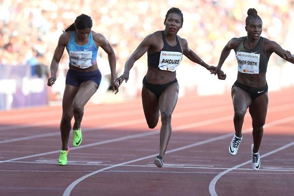 Murielle Ahoure wins the Oslo 100m (Giancarlo Colombo)