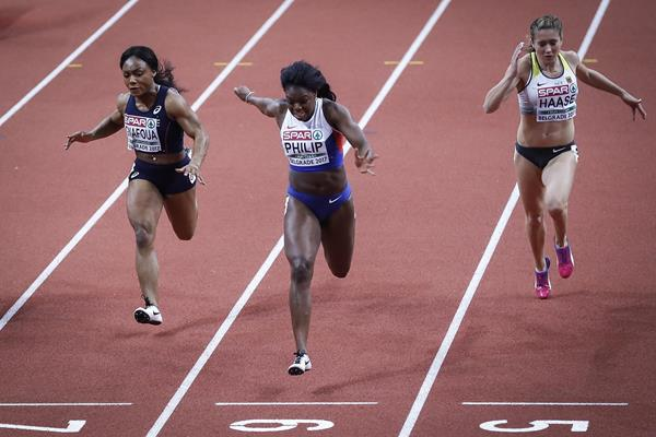 Asha Philip of Great Britain winning the women's 60m at the European Indoor Championships in Belgrade (Getty Images)