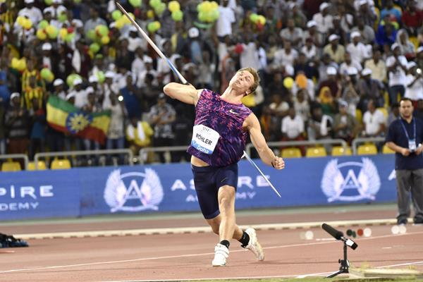 Thomas Rohler unleashes his 93.90m bomb in Doha (Hasse Sjogren/Jiro Mochizuki)