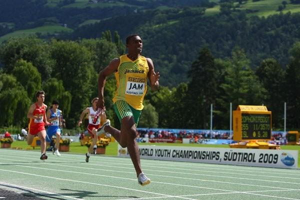 Waynee Hyman of Jamaica during the Boys' Medley Relay (Getty Images)