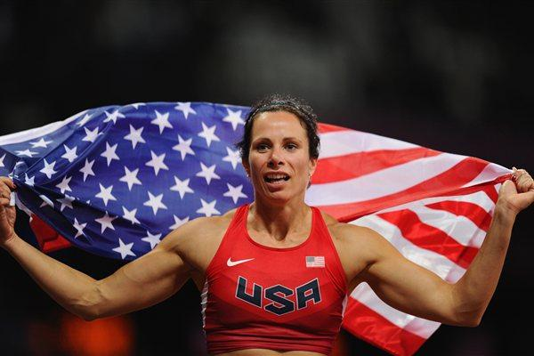 Jennifer Suhr of the United States celebrates after winning the gold medal in the Women's Pole Vault final on Day 10 of the London 2012 Olympic Games on 6 August 2012 (Getty Images)
