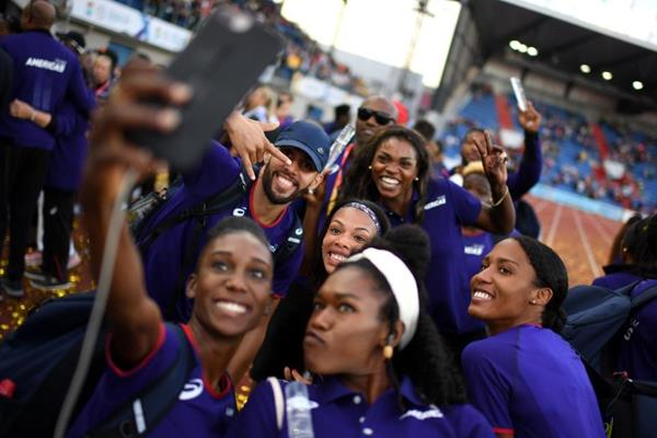 Members of Team Americas celebrate their victory at the IAAF Continental Cup Ostrava 2018 (Getty Images)