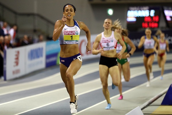 Katarina Johnson-Thompson in the pentathlon 800m at the European Indoor Championships in Glasgow (Getty Images)
