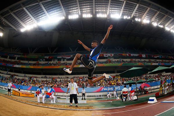 Long jump action in Nanjing (Getty Images)