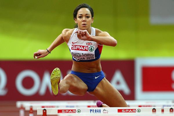 Katarina Johnson-Thompson in the pentathlon 60m hurdles at the European Indoor Championships (Getty Images)