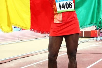 Francoise Mbango produced the second furthest triple jump in history to win the 2008 Olympic title (Getty Images)
