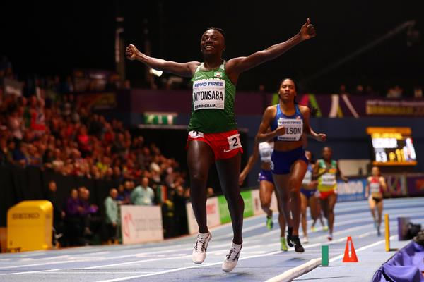 Francine Niyonsaba wins the 800m at the IAAF World Indoor Championships Birmingham 2018 (Getty Images)