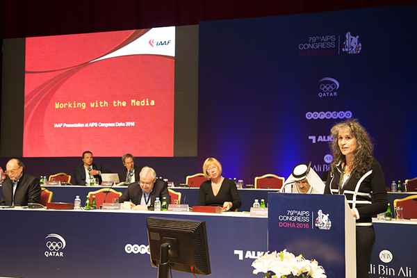 IAAF deputy director of communications Anna Legnani at the 2016 AIPS Congress in Doha (AIPS)