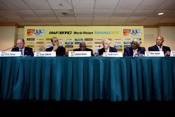 IAAF President Lamine Diack (centre) at the pre-event press conference ahead of the IAAF/BTC World Relays, Bahamas 2015 (Getty Images)