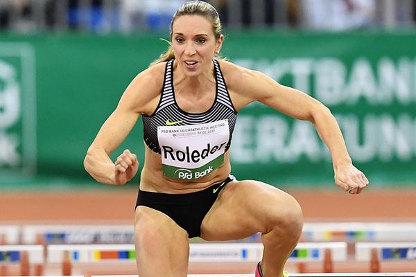 Cindy Roleder on her way to winning the 60m hurdles at the IAAF World Indoor Tour Meeting in Dusseldorf (Gladys Chai von der Laage)