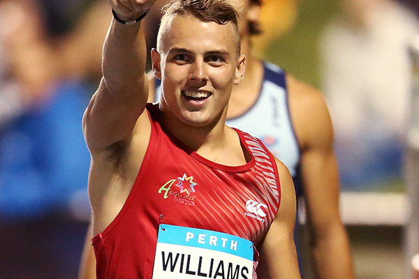 Trae Williams after winning the 100m in Perth (Getty Images)