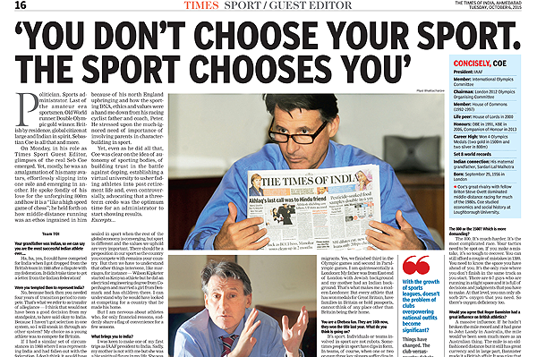 IAAF President Seb Coe as guest editor for The Times of India (The Times of India)