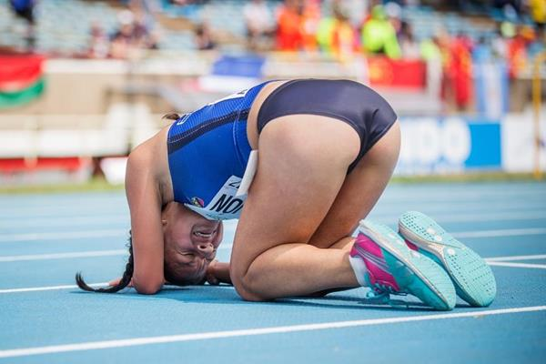 Glenda Morejon after winning the girls' 5000m race walk at the IAAF World U18 Championships Nairobi 2017 (Getty Images)