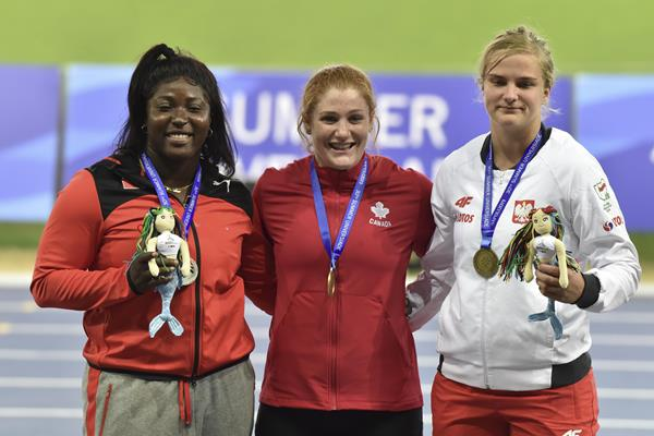 2019 Universiade shot put podium: silver medallist Portious Warren of Trinidad and Tobago, winner Sarah Mitton of Canada and bronze medallist Klaudia Kardasz of Poland (Getty Images)