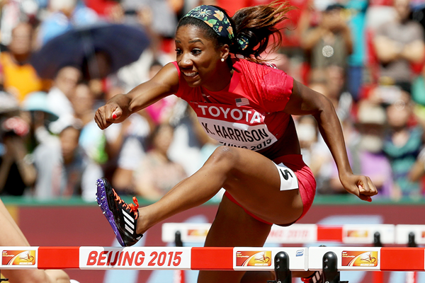 Keni Harrison in the 100m hurdles at the IAAF World Championships Beijing 2015 (Getty Images)