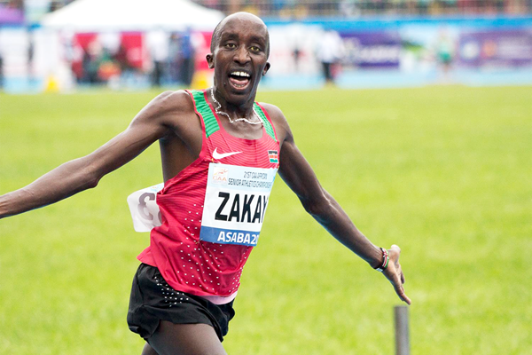 Edward Zakayo after his 5000m victory at the African Championships in Asaba (Bob Ramsak)