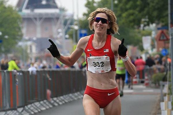 Camille Herron at the 2015 IAU 100km World Championships (Meijco van Velzen)