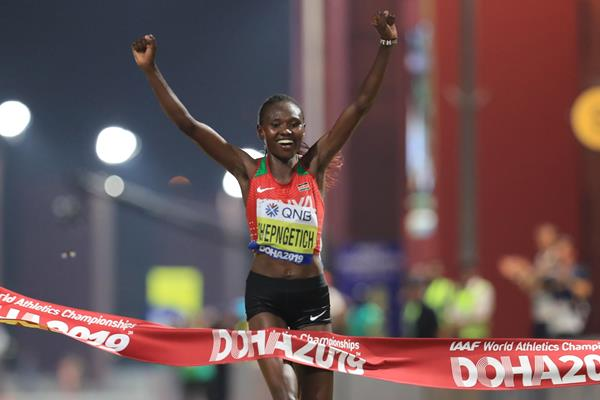 Women's marathon winner Ruth Chepngetich in Doha (Getty Images)