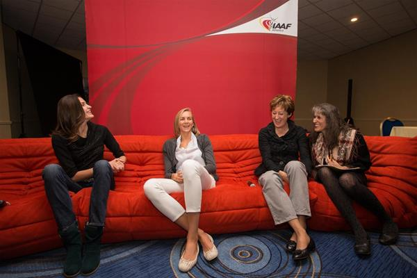 Anna Chicherova, Svetlana Shkolina and Sara Simeoni talk to the press in Monaco (Philippe Fitte)