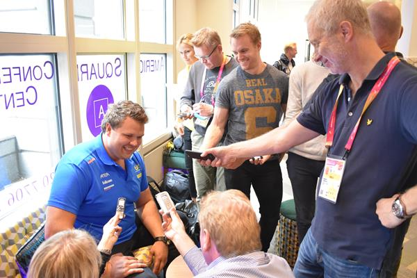 Daniel Stahl speaking to the media ahead of the IAAF World Championships London 2017 (Cathal Dennehy)