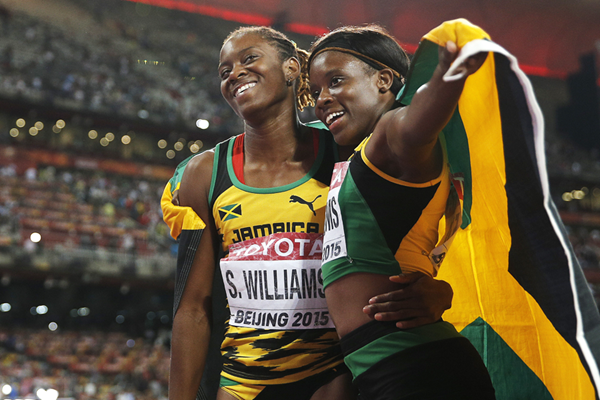 Shermaine and Danielle Williams after the 100m hurdles final at the IAAF World Championships, Beijing 2015 (AFP / Getty Images)