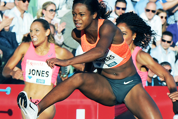 Jasmin Stowers on her way to winning the 100m hurdles at the IAAF Diamond League meeting in Oslo (Mark Shearman)