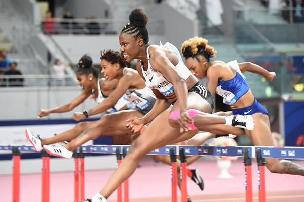 Danielle Williams on her way to winning the 100m hurdles at the IAAF Diamond League meeting in Doha (Jiro Mochizuki)