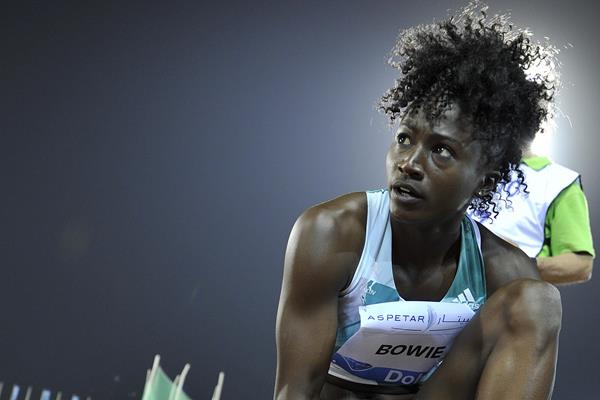 Tori Bowie at the 2016 IAAF Diamond League meeting in Doha (Hasse Sjogren)