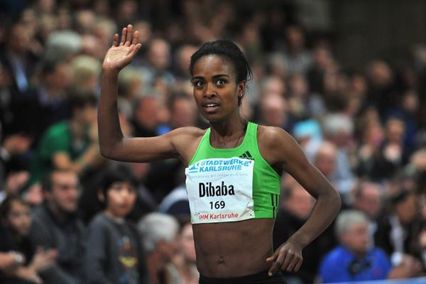 Genzebe Dibaba after her 4:00.13 world leader in Karlsruhe (Bongarts/Getty Images)