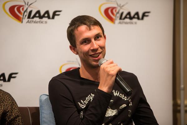 Bogdan Bondarenko speaks to the press in Monaco (Philippe Fitte / IAAF)