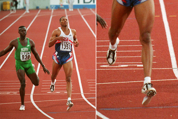 Quincy Watts in the 400m at the 1993 IAAF World Championships in Stuttgart (Getty Images)