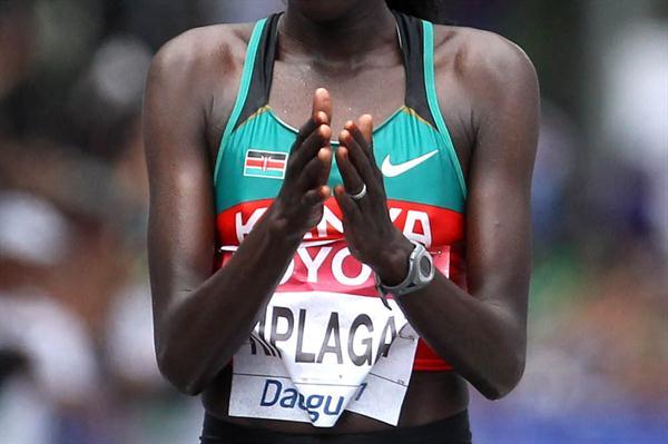 Edna Ngeringwony Kiplagat of Kenya celebrates winning the women's marathon - Day One - WCH Daegu 2011 (Getty Images)