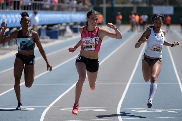 Jenna Prandini wins the 100m at Mt. SAC (Kirby Lee)