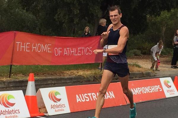 Dane Bird-Smith en route to the Oceania 20km Race Walk title in Adelaide (organisers)