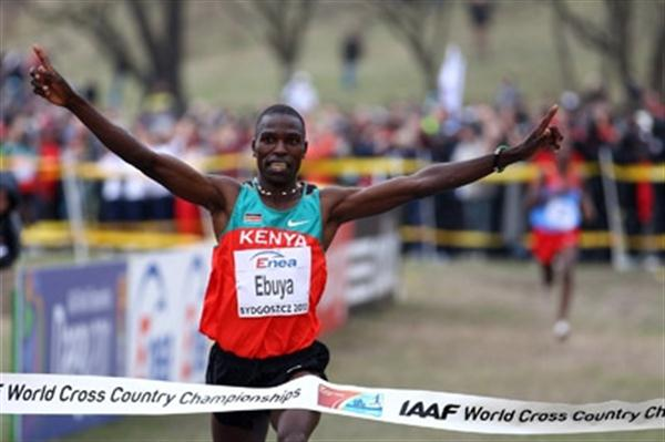 Joseph Ebuya crosses the finish line to complete Kenya's sweep of all titles in Bydgoszcz 2010 (Getty Images)