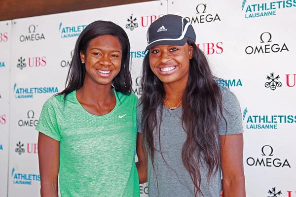 Jasmin Stowers and Sharika Nelvis ahead of the 2015 IAAF Diamond League meeting in Lausanne (Victah Sailer)