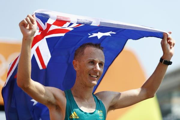 Jared Tallent after taking silver in the 50km race walk at the Rio 2016 Olympic Games (Getty Images)