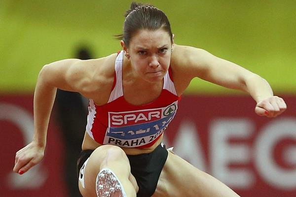 Alina Talay on her way to gold in the 60m hurdles at the European Indoor Championships (Getty Images)