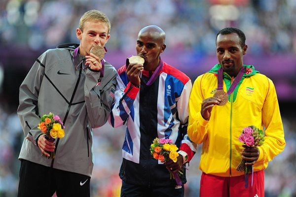 (L-R) Silver medalist Galen Rupp of the United States, gold medalist Mo Farah of Great Britain and bronze medalist Tariku Bekele of Ethiopia pose on the podium for Men's 10,000m on Day 9 of the London Olympic Games on 5 August 2012 (Getty Images)