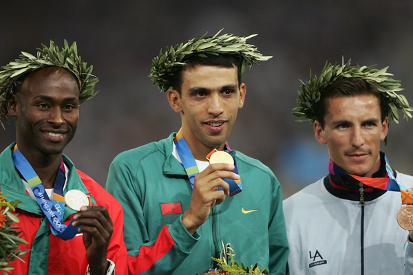 The 1500m podium of the 2004 Olympics ()