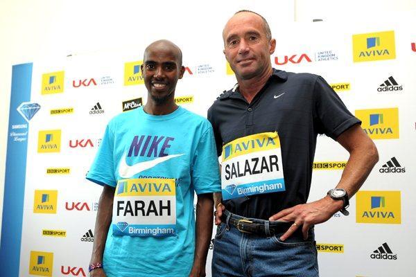 Mo Farah with coach Alberto Salazar at the Aviva Birmingham Grand Prix - Samsung Diamond League press conference (9 July) (Mark Shearman)