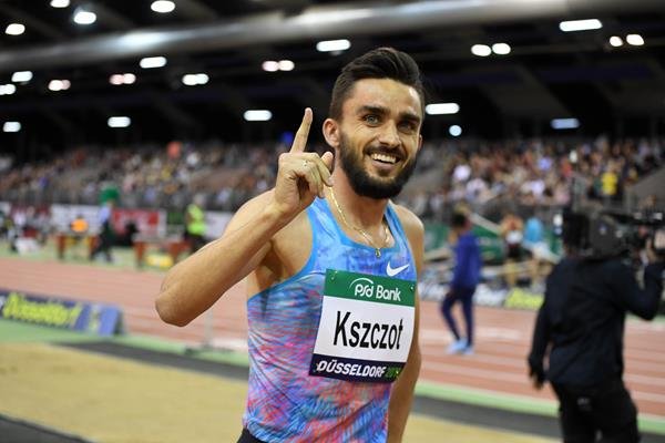 Adam Kszczot after winning the PSD Bank Meeting 800m for the seventh time (Gladys Chai von der Laage)